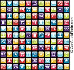 icônes, modèle, app, mobile, fond, téléphone