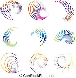 icônes, mouvement, vague, conception