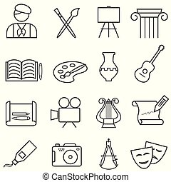 icônes, musique, peinture, ligne, arts, amende