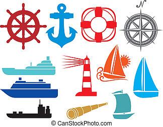 icônes, nautique, marin