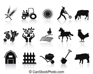 icônes, noir, ensemble, ferme, agriculture