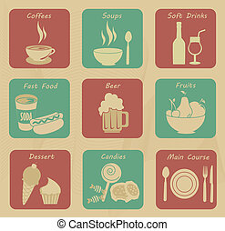 icônes, nourriture, boissons