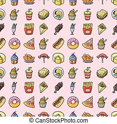 icônes, nourriture, boissons, ensemble, eps10
