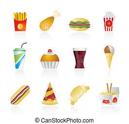 icônes, nourriture, jeûne, boisson