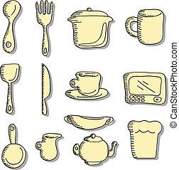 icônes, nourriture, remplir, doodles, dessin animé, cuisine
