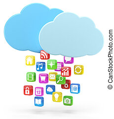 icônes, nuage, coloré, app
