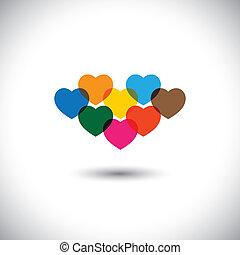 icônes, ou, coeur, coloré, extrait amour, -, vecteur
