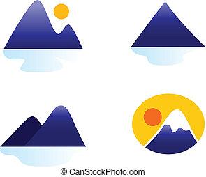 icônes, ou, collines, montagnes, isolé, collection, blanc