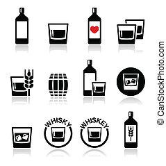 icônes, ou, whisky, alcool, ensemble, whisky
