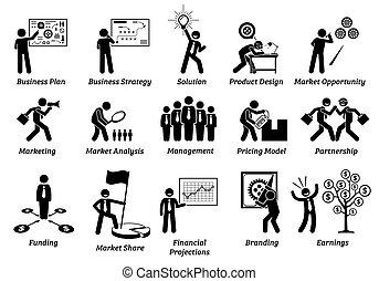 icônes, plan, set., figure, business, crosse