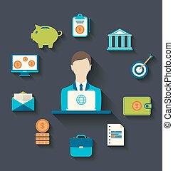 icônes, plat, conception, financier, business
