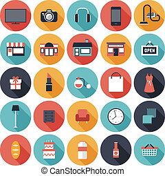 icônes, plat, ensemble, achats