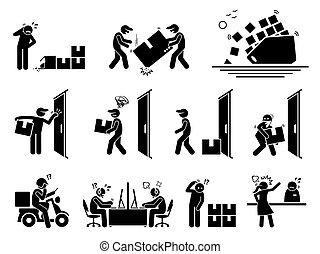 icônes, problème, expédition, logistique, set.