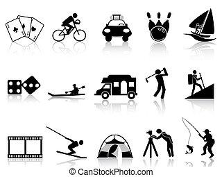 icônes, récréation, ensemble, loisir
