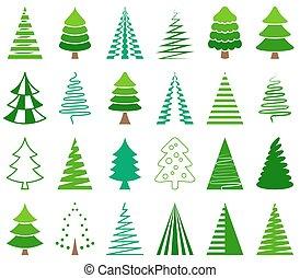 icônes, résumé, arbre, vecteur, vert, noël
