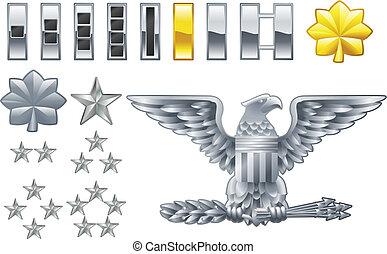 icônes, rangs, américain, insigne, officier, armée