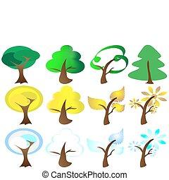 icônes, saisons, quatre, arbre