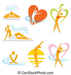 icônes, santé, sauna, spa