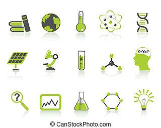 icônes, science, ensemble, série, vert, simple
