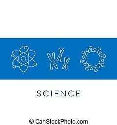 icônes, science, vecteur, ligne mince, bannière