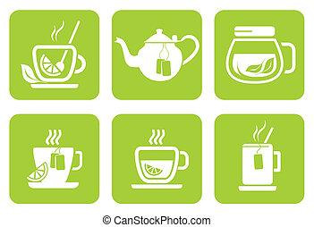 icônes, service thé