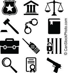 icônes, set., justice, droit & loi