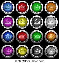 icônes, signe, boutons, noir, lustré, fond, blanc, ouvert, rond