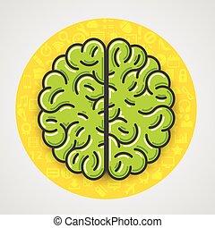 icônes, signe jaune, cerveau, vert, cercle, dessin animé