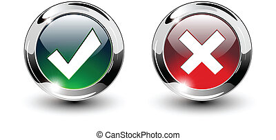 icônes, signe, tique, &, boutons, croix