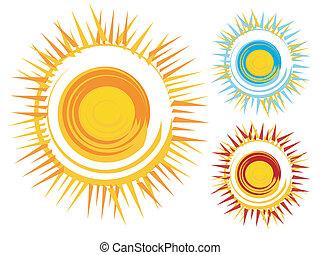 icônes, soleil