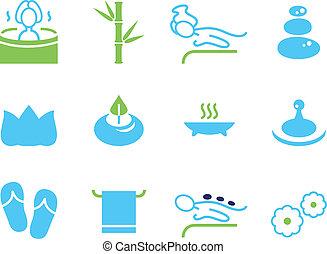 icônes, spa, wellness, isolé, ensemble, masage, blanc