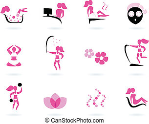 icônes, &, sport, noir, spa, wellness, (, isolé, rose, ), blanc
