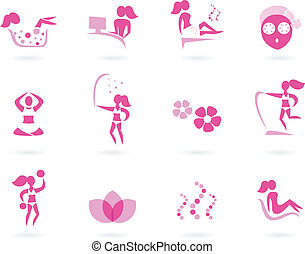 icônes, sport, spa, wellness, isolé, femme, &, rose, blanc