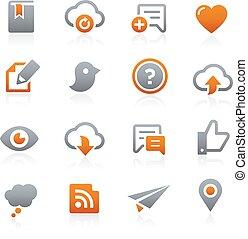 icônes, toile, 8, mobile, graphite