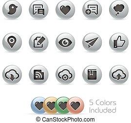 icônes, toile, 8, mobile, métal, -, rond, &