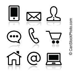 icônes, toile, ensemble, contact, vecteur