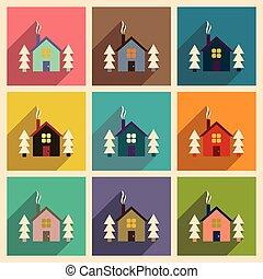 icônes, toile, maison, ensemble, ombre, plat, long, forêt