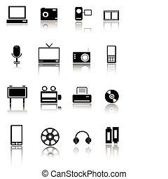 icônes, toile, technologie