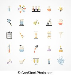 icônes, toile, vecteur, science