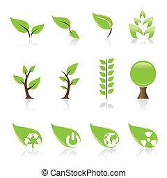 icônes, ton, ensemble, 12, ambiant, vert, conception, idée