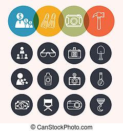 icônes, tourisme, construc, série, collection, cercle, appareil photo,