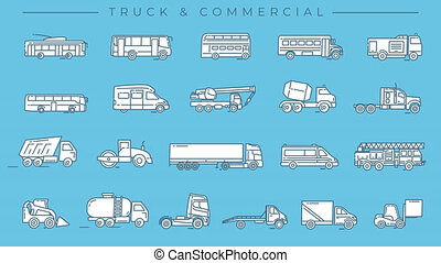 icônes, transport, alpha, ligne, commercial, camion, channel.