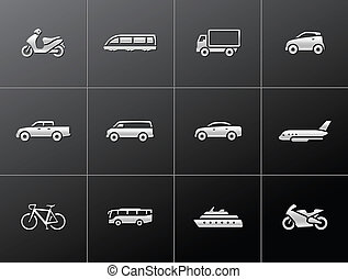 icônes, transport, métallique, -
