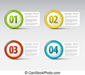 icônes, -, trois, deux, quatre, vecteur, progrès, une
