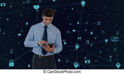 icônes, utilisation, réseau, homme affaires, tablette numérique, contre