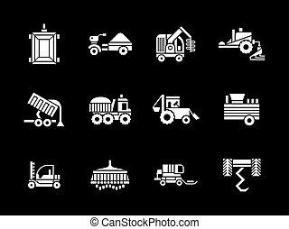 icônes, véhicules, vecteur, blanc, agriculture, glyph