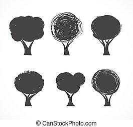 icônes, vecteur, collection, arbre