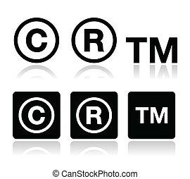 icônes, vecteur, marque déposée, droit d'auteur