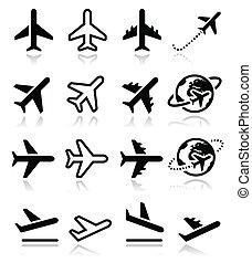icônes, vol, aéroport, ensemble, avion