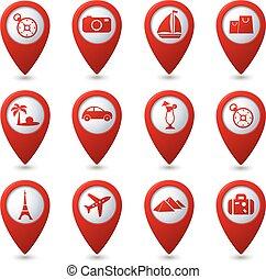 icônes, voyage, carte, indicateurs